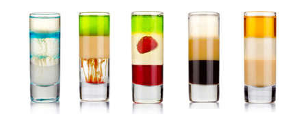 Set of sliced shot cocktails isolated on white background