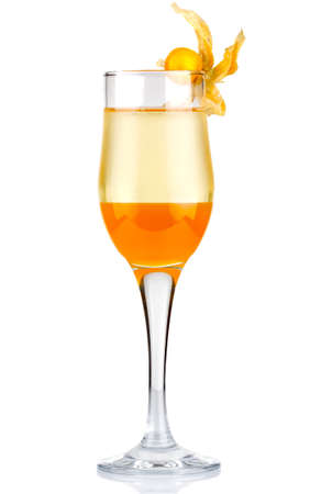 Sliced alcohol cocktail with physalis berry isolated on white background Stock Photo