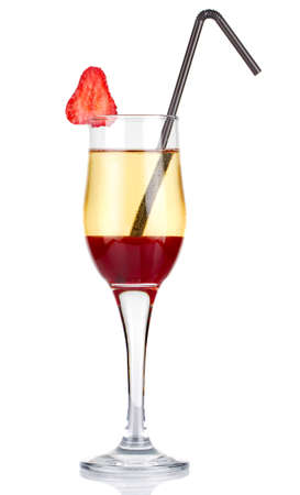 Sliced alcohol cocktail with strawberry isolated on white background photo