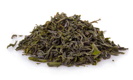 Heap of dry green tea isolated on white background