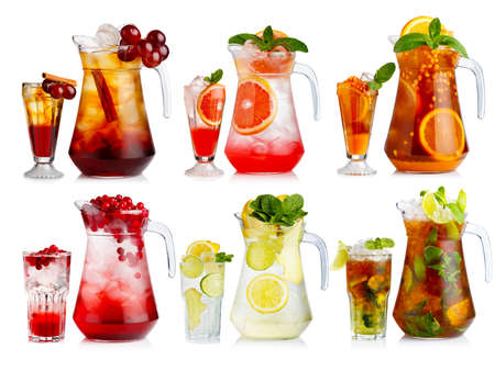 Set of nonalcoholic cocktail in jugs and glasses with fruits and berries isolated   Stock Photo