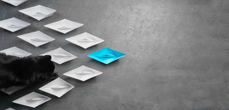 Business concept, paper boat, is the leader of thought, the concept of influence. One blue paper boat as a leader, which launches a black cat leading in the direction of the white ships on a gray concrete background,flat lay,copy space