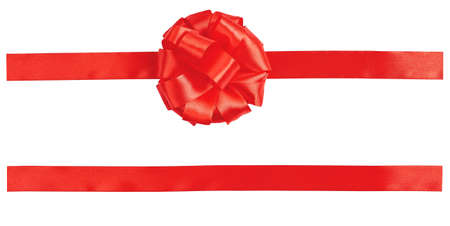 bow, red satin, with oblique ribbon isolated on white