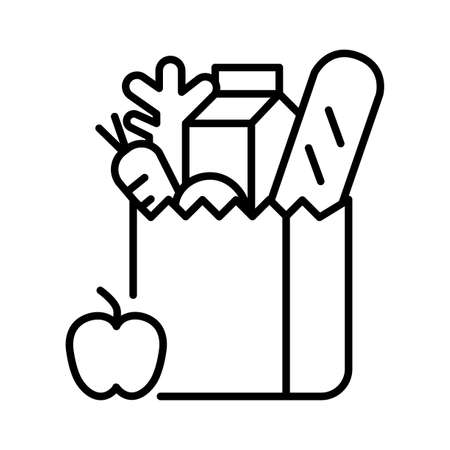 Food in a cardboard box,Donate food Vector icon.