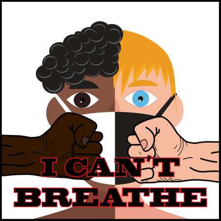 I can't breathe. Caption on the background of raised fists, people of different nationalities, different colors. Symbol of protest. Vector. News illustration, info, articles, blogs, publication, print Archivio Fotografico - 149905708