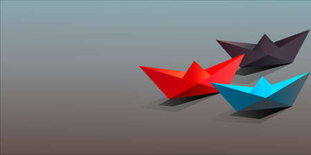 Business Concept,Origami Red blue and black Paper Boats, Leadership,Banner,Website background.Vector illustation.copy space Vectores