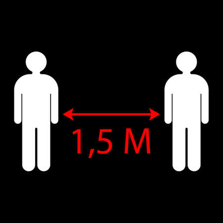 Social distance: The arrow shows the distance between people 1.5 meters. Vector illustration. Vector icon.