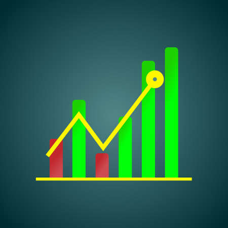 Diagram, business concept, strategy of growth and increase in income.Vector illustration. Vectores