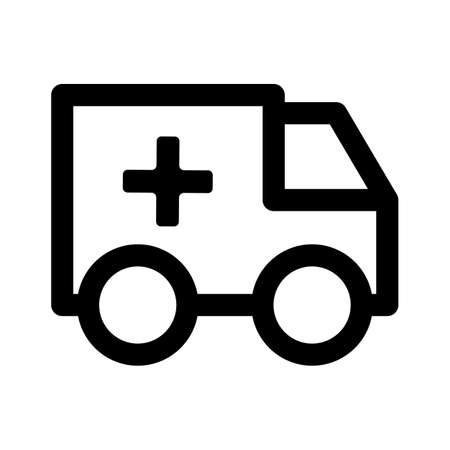 Ambulance truck line icon. linear style sign for mobile concept and web design. Medical delivery truck outline vector icon.