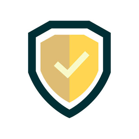 shield icon with checkmark. Confirmation of protection. Vector illustration.