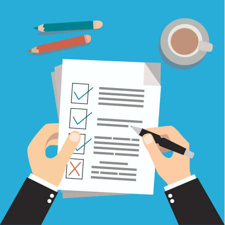 Hands of a businessman with a pen hold a to-do or planning list and puts the result, filling out documents, surveys, in flat design, Vector illustration