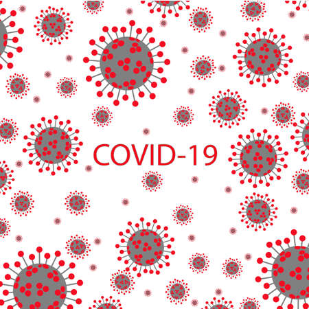 Many  virus molecules on white background in the form of a pattern.virus and pandemic virus risk concept. Vector illustration