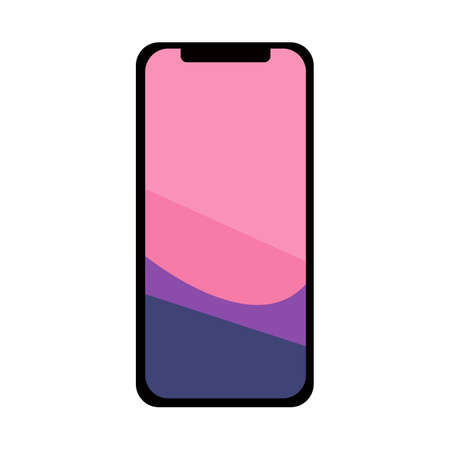 Modern smartphone with a colorful screen in a flat style on a white background. Icon for the site, Vector illustration. Vectores