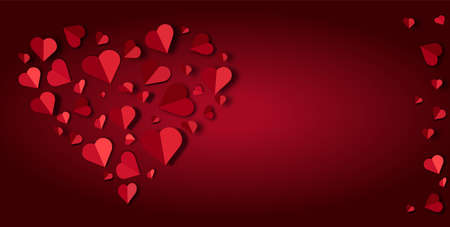 Big red heart lined with small paper hearts on a red background,, vector illustration