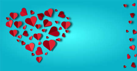 Big red heart lined with small paper hearts on a blue background,