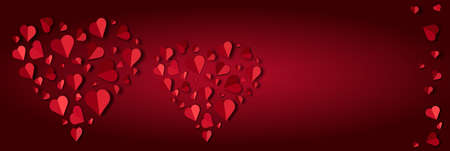 Two big red hearts lined with small paper hearts on a red background,Vector illustration Foto de archivo