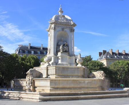 places of interest: Fountain Saint-Sulpice in Paris Stock Photo