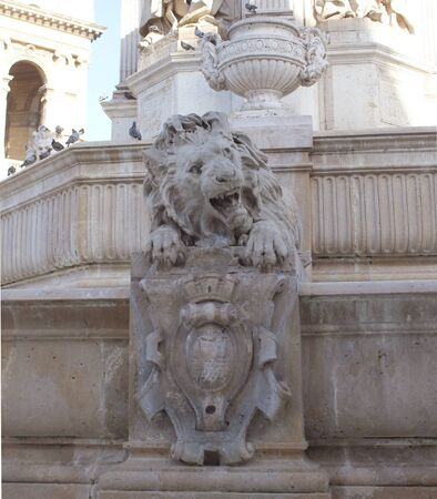 place of interest: Fountain Saint-Sulpice in Paris Stock Photo