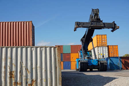intermodal: container lifter Stock Photo