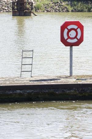 inland waterways: shipping sign Stock Photo