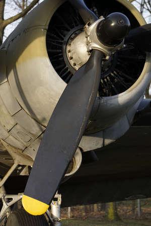 Propeller plane close up Stock Photo