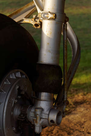 close up: Aircraft tire close up Stock Photo