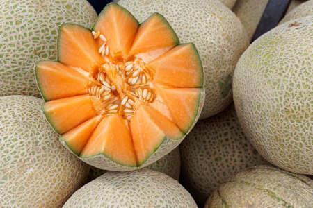 melons: cantaloup melons Stock Photo
