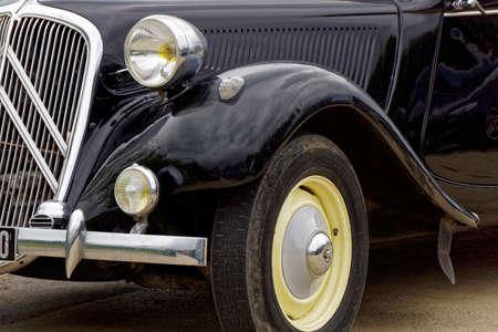 engine bonnet: black classic car