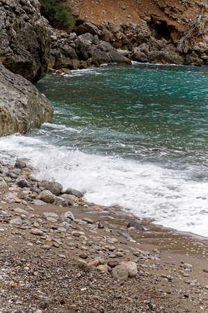 Stormy sea near the coast, postcard design, Mallorca Stock Photo
