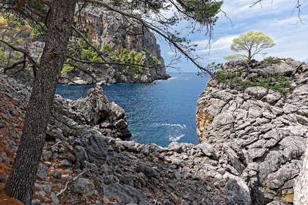 View of the sea and cliffs on a sunny day, mallorca Stock Photo