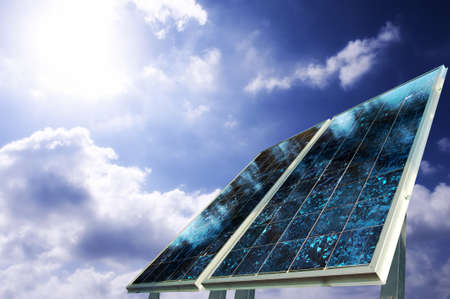 fuel cell: Solar panel with sun ray Stock Photo