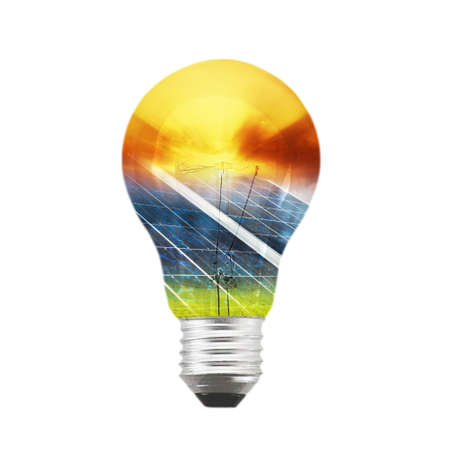 Bulb with gradient of solar panel and sunset photo