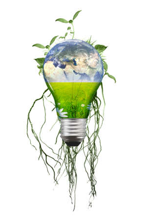 technology technology symbol: Eco lamp with earth and roots