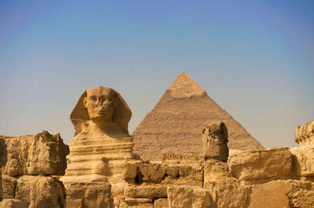 The Sphinx and Pyramid at Giza in Cairo photo
