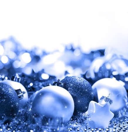 Blue glowing Christmas balls decoration Stock Photo - 8300097