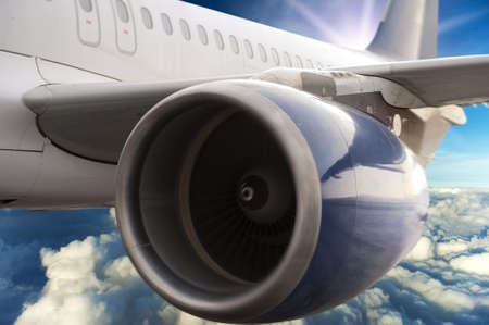 Turbine motor of an airplane photo