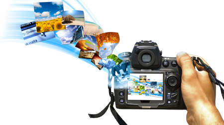 A reflex with photo stream on display Stock Photo - 8365496