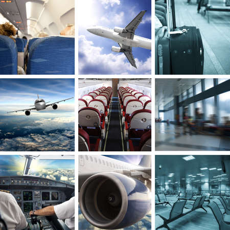 airport people: Collage of airport and airplane photos