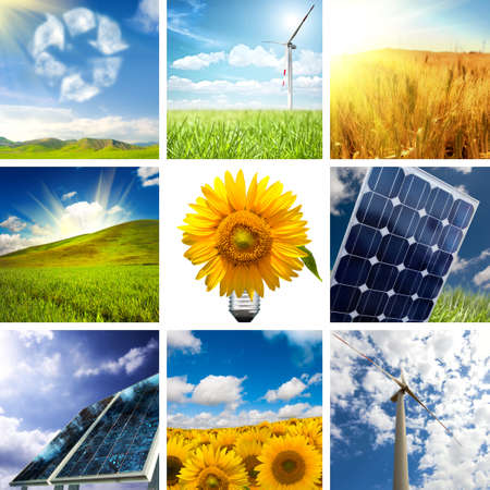 New energy concept with collage of various photo Stock Photo - 8432738