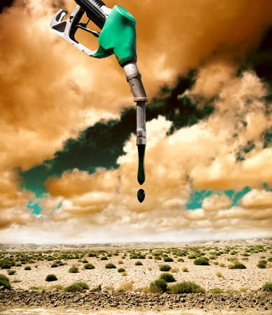 caused: Desertification and pollution caused by petrol Stock Photo