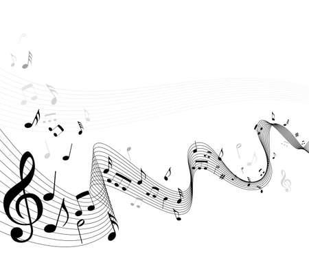 Fondo de hoja de notas de música abstracta