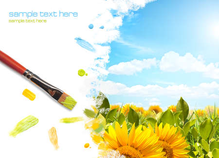 Painting colored landscape with sunflower photo