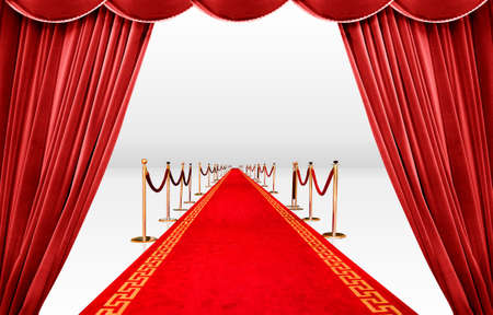 Red curtain with infinite carpet photo