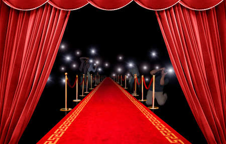Presentation with red carpet and photographer Stock Photo - 9180456