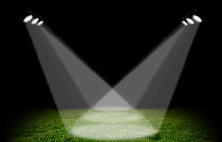 campo di calcio: Fari puntati su nello stadio verde