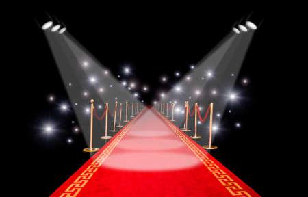 Roter Teppich mit Spotlight und Blitz Standard-Bild - 9180461