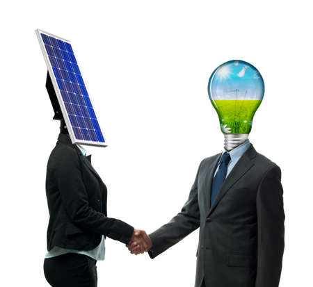Business handshake from new energy people photo