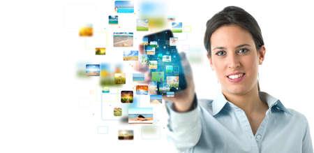 Business girl banner with streaming mobile phone