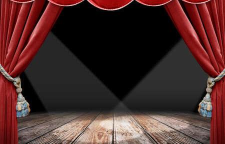 rideaux rouge: Spotlight et �tape de Rideau rouge