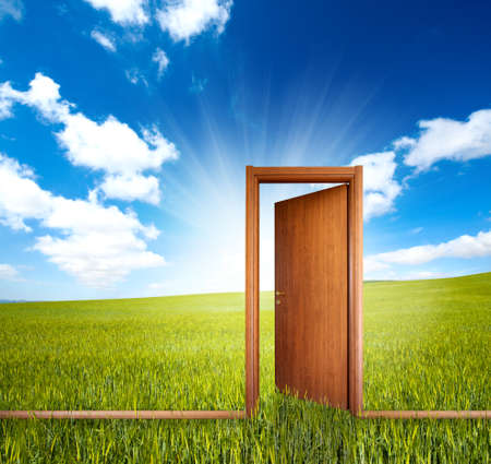 entrance door: Home door open in a green clean field Stock Photo